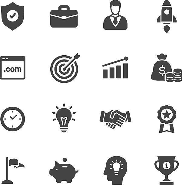 ilustraciones, imágenes clip art, dibujos animados e iconos de stock de iconos de negocios - sólido