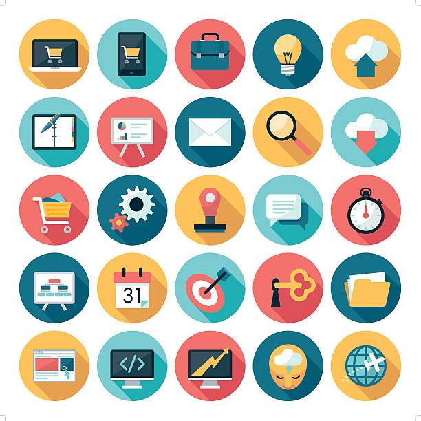 business icons - flat design stock-grafiken, -clipart, -cartoons und -symbole