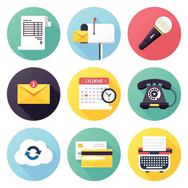ilustraciones, imágenes clip art, dibujos animados e iconos de stock de iconos de negocios - calendario abstracto