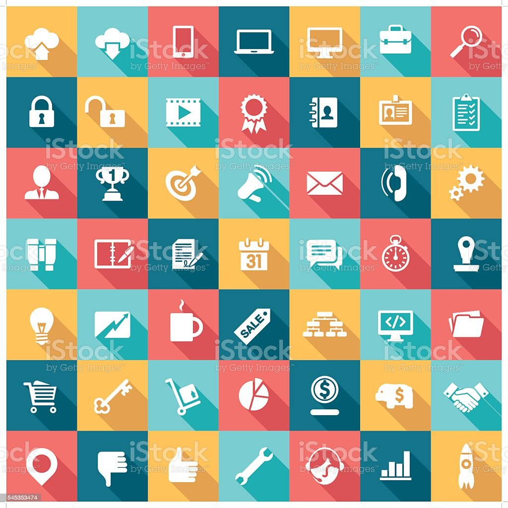 business icons A set of 49 business related icon set. Icons are grouped individually. Address Book stock vector