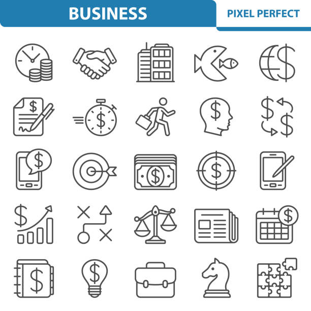 Business Icons Professional, pixel perfect icons depicting various business, investment and finance concepts. time is money stock illustrations