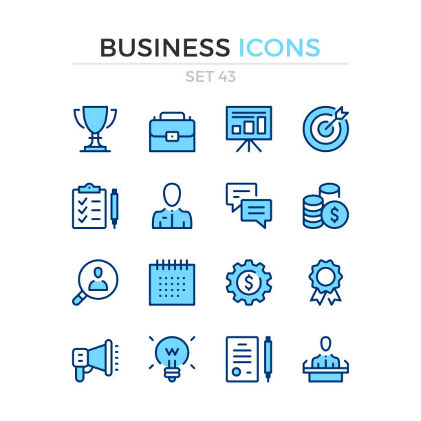 Business icons. Vector line icons set. Premium quality. Simple thin line design. Stroke, linear style. Modern outline symbols, pictograms. Business icons. Vector line icons set. Premium quality. Simple thin line design. Stroke, linear style. Modern outline symbols, pictograms. blue icons stock illustrations
