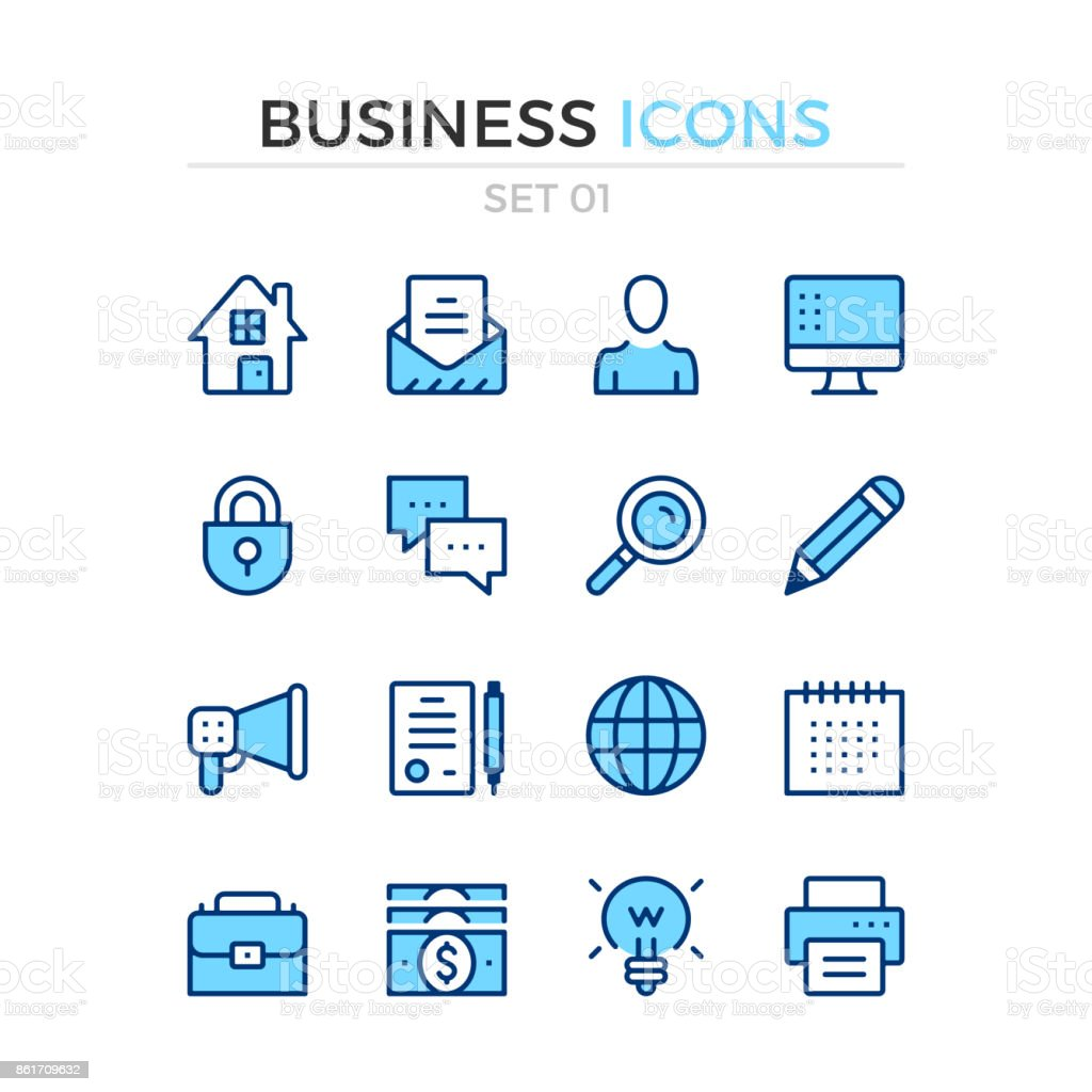 Business icons. Vector line icons set. Premium quality. Simple thin line design. Stroke, linear style. Modern outline symbols, pictograms vector art illustration