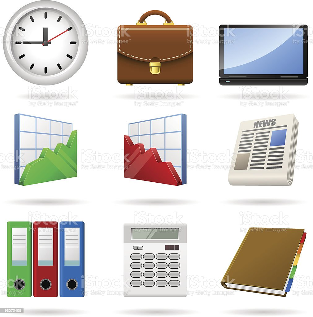 Business icons. Vol. 1. royalty-free business icons vol 1 stock vector art & more images of bag