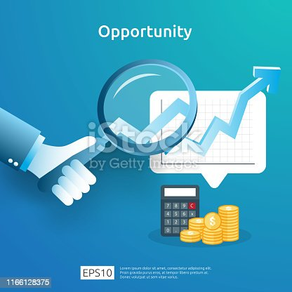 business idea analytic and opportunity research concept with increase growth graphic chart and magnifying glass on hand. Finance performance of return on investment ROI illustration with arrow element