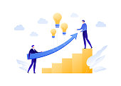Vector flat business idea people illustration. Team of businessman holding arrow with balloon lightbulb. Concept of innovation, growth, technology. Design element for banner, poster, infographic