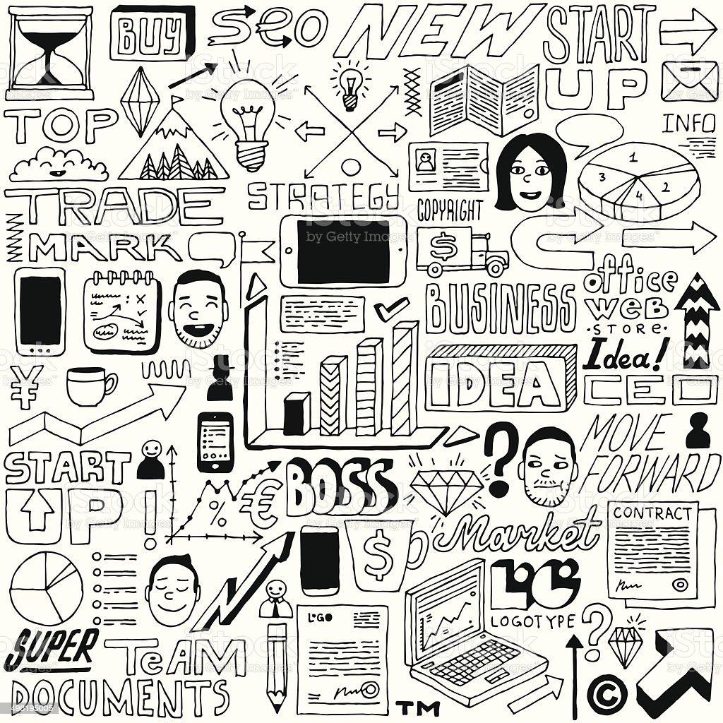 Business idea doodle set. Vector illustration. vector art illustration