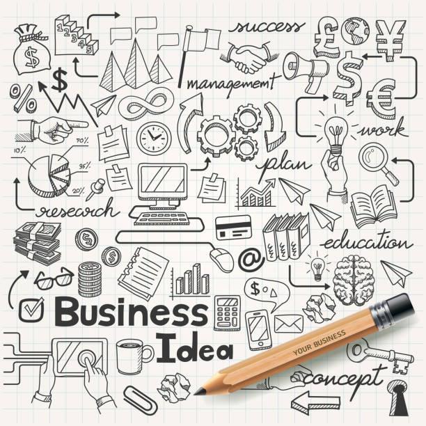 Business Idea doodles icons set. Business Idea doodles icons set. book drawings stock illustrations