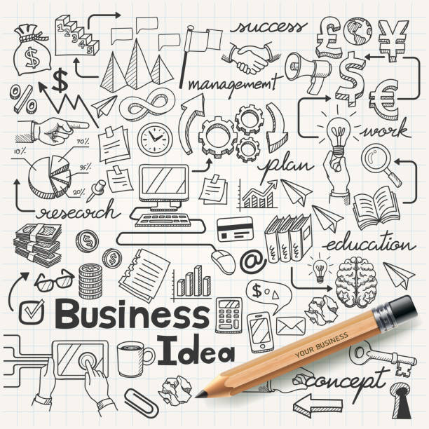 business idea doodles icons set. - book symbols stock illustrations