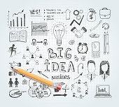 Vector business idea doodles with charts and diagrams and pencil