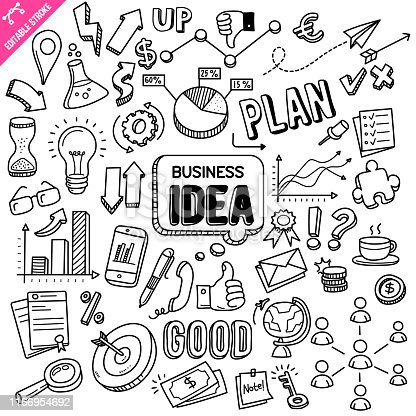 Business idea hand drawn doodle illustration isolated on white background. Vector doodle illustration with editable stroke/outline.