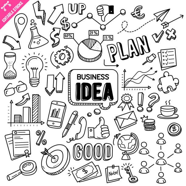 pomysł na biznes edytowalny obrys doodle ilustracja wektorowa. - bazgroły rysunek stock illustrations