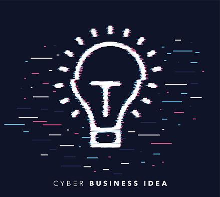 Business Idea Glitch Effect Icon Illustration