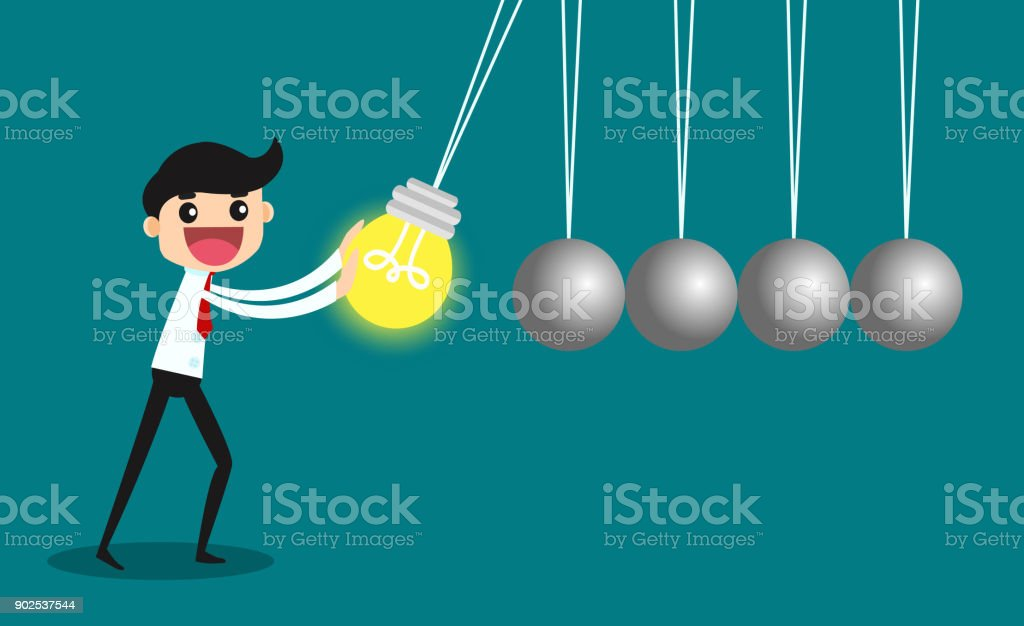Business ideas challenge concept with Newton cradle. vector illustration vector art illustration