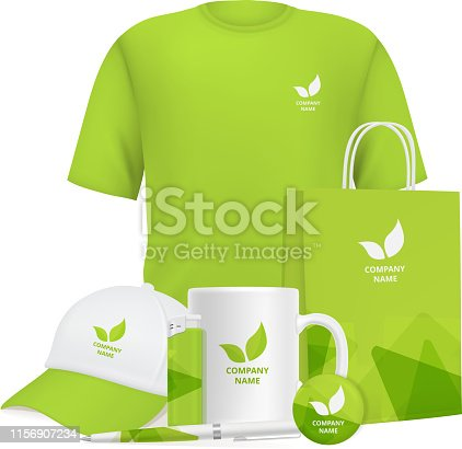 Business identity. Branding design corporate souvenirs promotional items clothing cup cap pen lighter vector realistic mockup