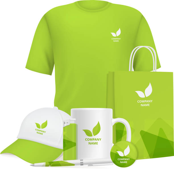 Business identity. Branding design corporate souvenirs promotional items clothing cup cap pen lighter vector realistic mockup Business identity. Branding design corporate souvenirs promotional items clothing cup cap pen lighter vector realistic mockup. Illustration of cap, cup and t-shirt with company logo advertising for sale stock illustrations