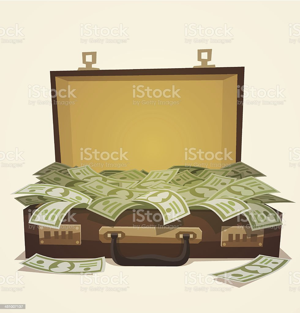 A business illustration of a suitcase full of money royalty-free stock vector art