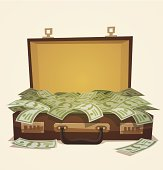 A business illustration of a suitcase full of money