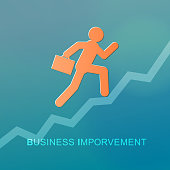 A businessman running up the ladder with a briefcase for the concept of business improvement