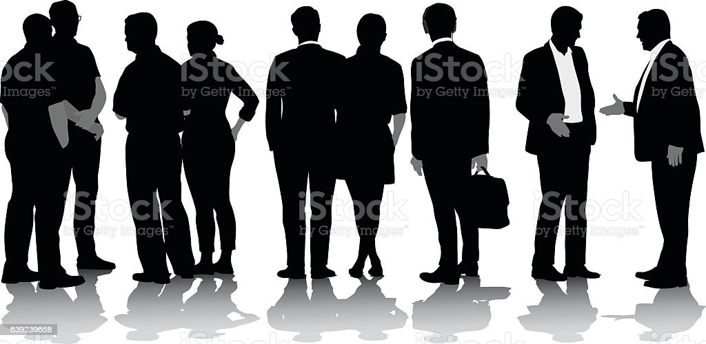 Business In The US Vector Silhouette vector art illustration