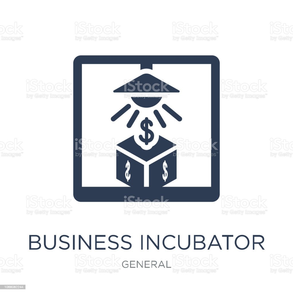 business incubator icon. Trendy flat vector business incubator icon on white background from general collection vector art illustration