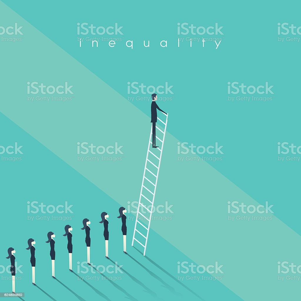 Business inequality concept vector background. Man standing on a ladder vector art illustration