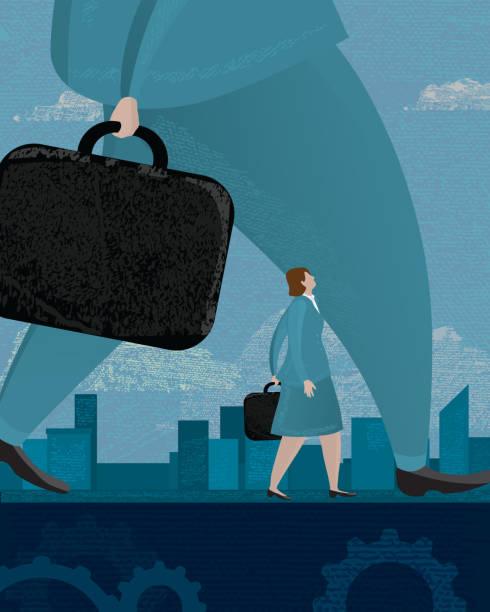 stockillustraties, clipart, cartoons en iconen met business inequality concept - woman very rich