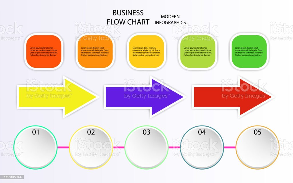 Business Info Arrow Graphic Design Flow Charts Vector Illustration