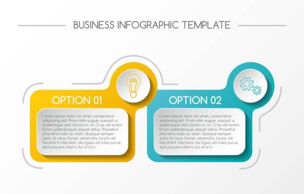 ilustrações, clipart, desenhos animados e ícones de infografia de negócios com caixas coloridas. vector. - dois objetos