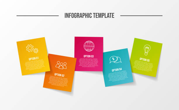 illustrazioni stock, clip art, cartoni animati e icone di tendenza di business infograph with icons - concept of template. vector - post it