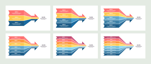 Business infographic. Arrow chart with 3, 4, 5, 6, 7, 8 options, sections. Vector template.