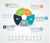 Business infographic pie chart or diagram with five options, space for your text and extra icons and symbols. EPS 10 file. Transparency effects used on highlight elements.