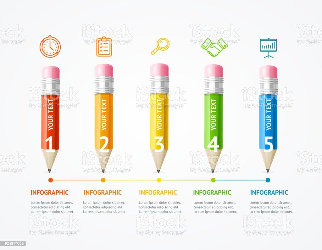 Entreprise infographie couleur crayon en bois bannière carte vectorielle - Illustration vectorielle