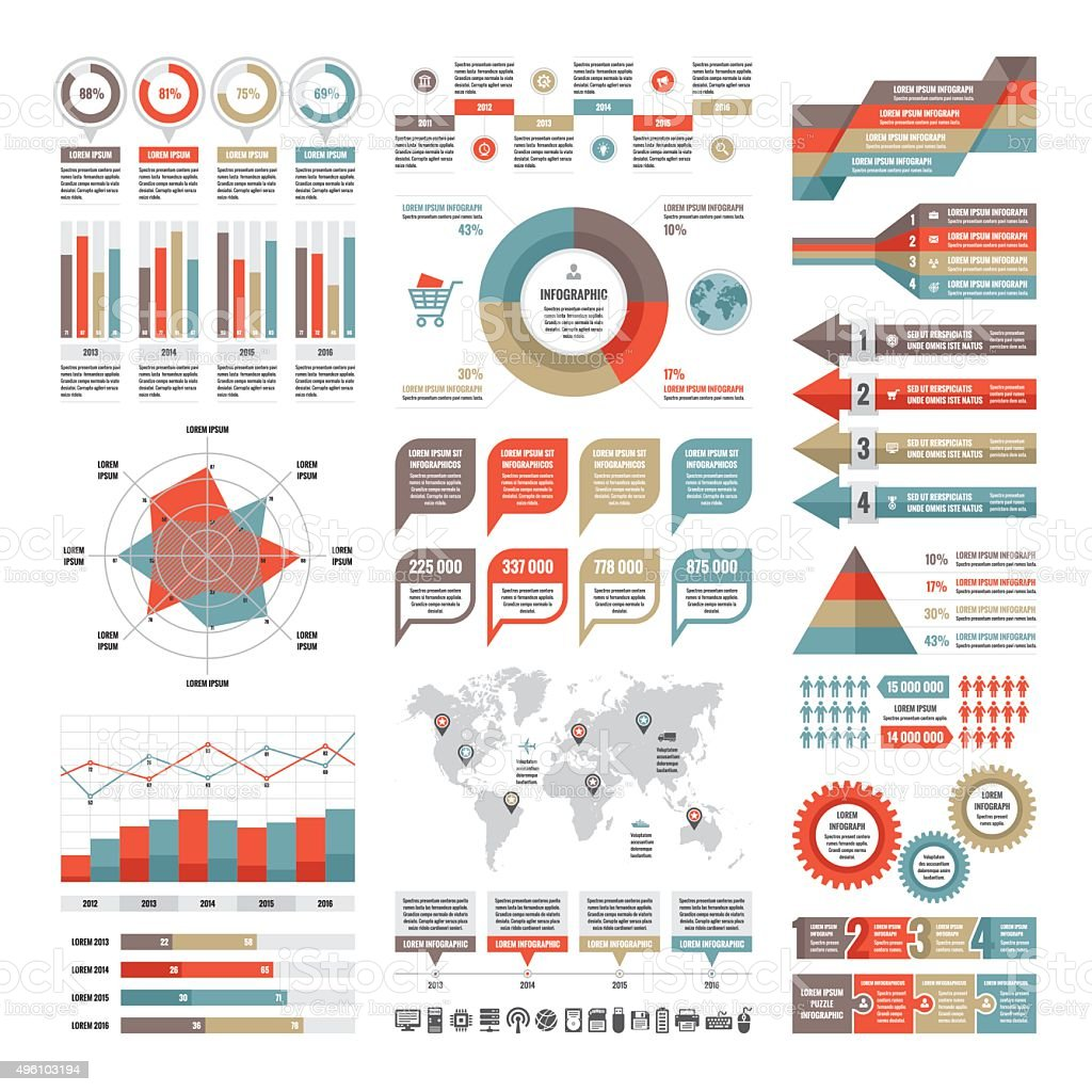 Business infographic concept - vector set of infographic elements vector art illustration