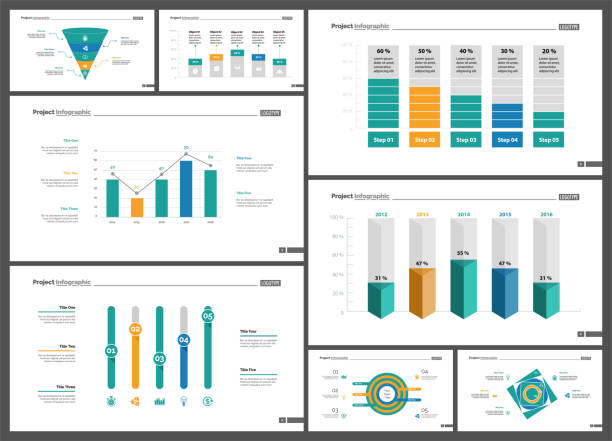 stockillustraties, clipart, cartoons en iconen met business infographic design set voor strategieconcept - lijngrafiek