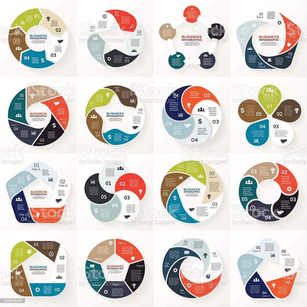 Business infographic, diagram, presentation 5 options vector art illustration