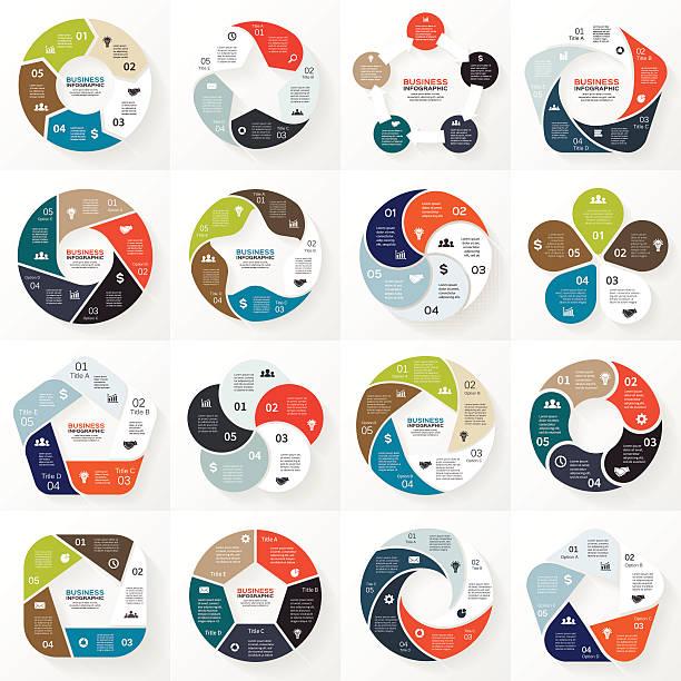 stockillustraties, clipart, cartoons en iconen met business infographic, diagram, presentation 5 options - vijf dingen