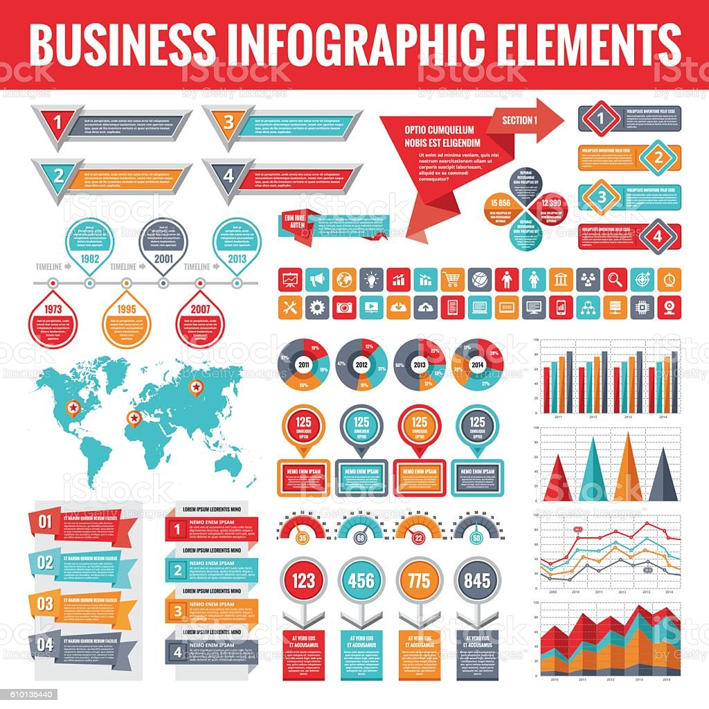 Business infographic elements. Abstract infographics templates. vector art illustration