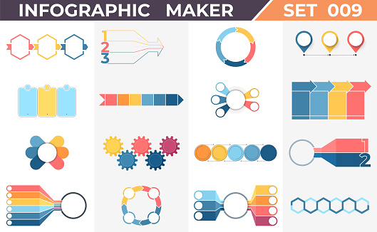 Business infographic elements. Data visualization templates with timelines, steps, options, processes, diagrams, charts, graphs. Vector templates.