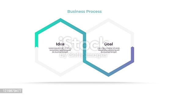 istock Business infographic elements. Process with 2 steps, options, sections. Vector template. 1219879477
