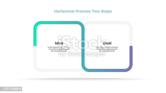 istock Business infographic elements. Process with 2 steps, options, sections. Vector template. 1221233824