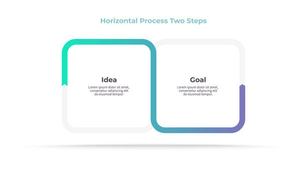비즈니스 인포그래픽 요소입니다. 2단계, 옵션, 단면으로 처리합니다. 벡터 템플릿입니다. - 쌍 stock illustrations
