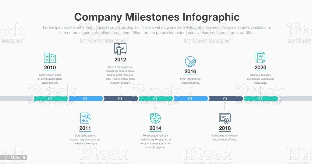 Infográfico do negócio para o molde do cronograma dos marcos da companhia com linha ícones - Vetor de A Data royalty-free