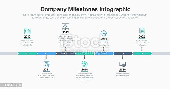 Business infographic for company milestones timeline template with line icons. Easy to use for your website or presentation.