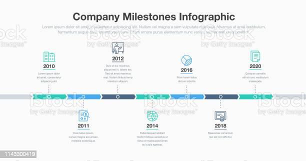 Vetores de Infográfico Do Negócio Para O Molde Do Cronograma Dos Marcos Da Companhia Com Linha Ícones e mais imagens de A Data
