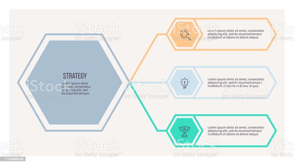 Business infographic. Organization chart with 3 options. Vector...