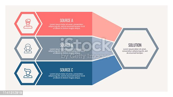 istock Business infographic. Organization chart with 3 options. Vector template. 1141312919