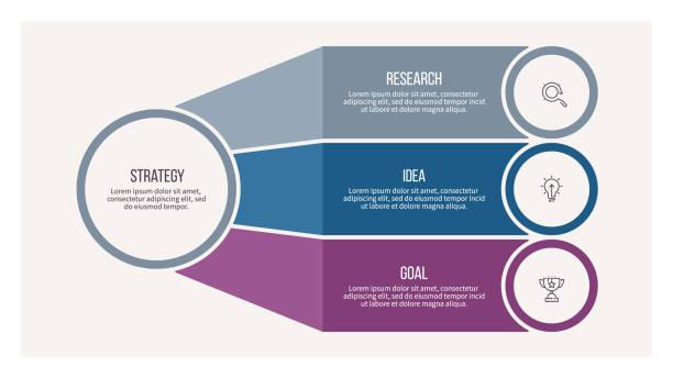 infografika biznesowa. schemat organizacyjny z 3 opcjami. szablon wektora. - część stock illustrations