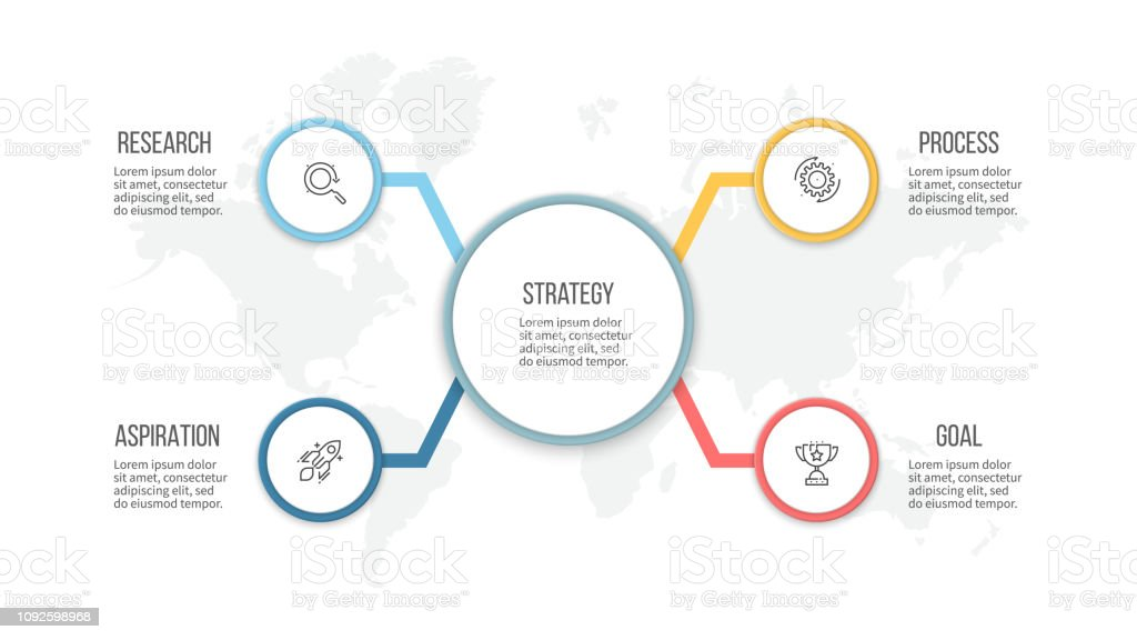 Business infographic. Organization chart with 4 options. Vector...