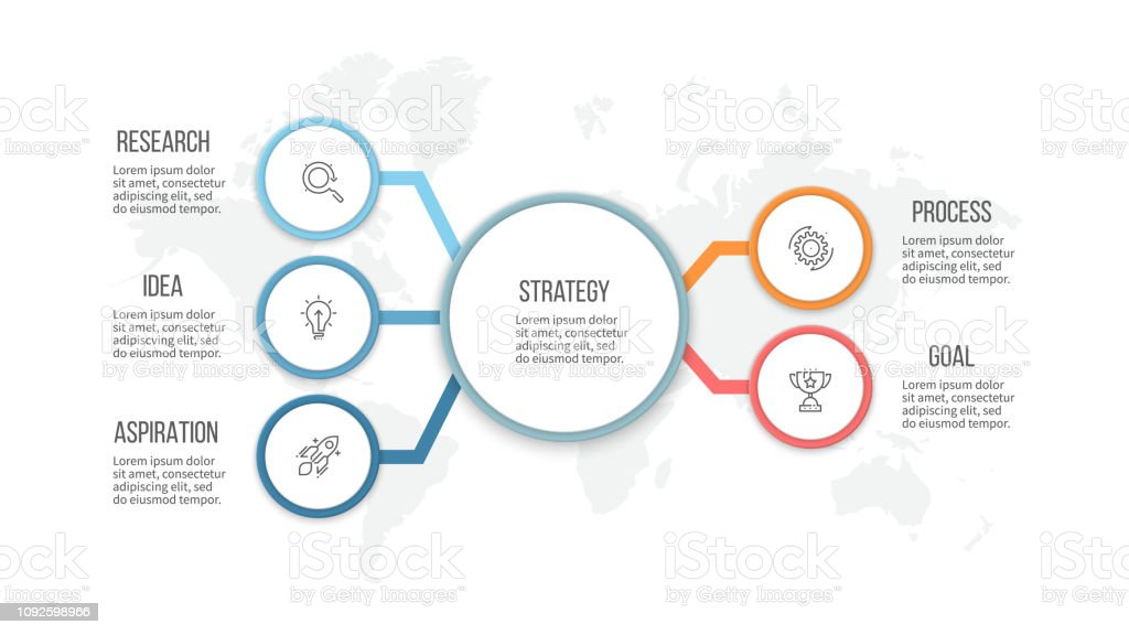 Business infographic. Organization chart with 5 options. Vector...